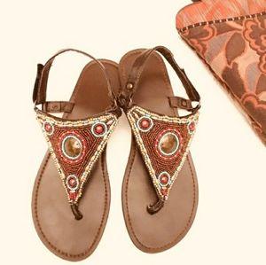 Boho beaded brown sandals